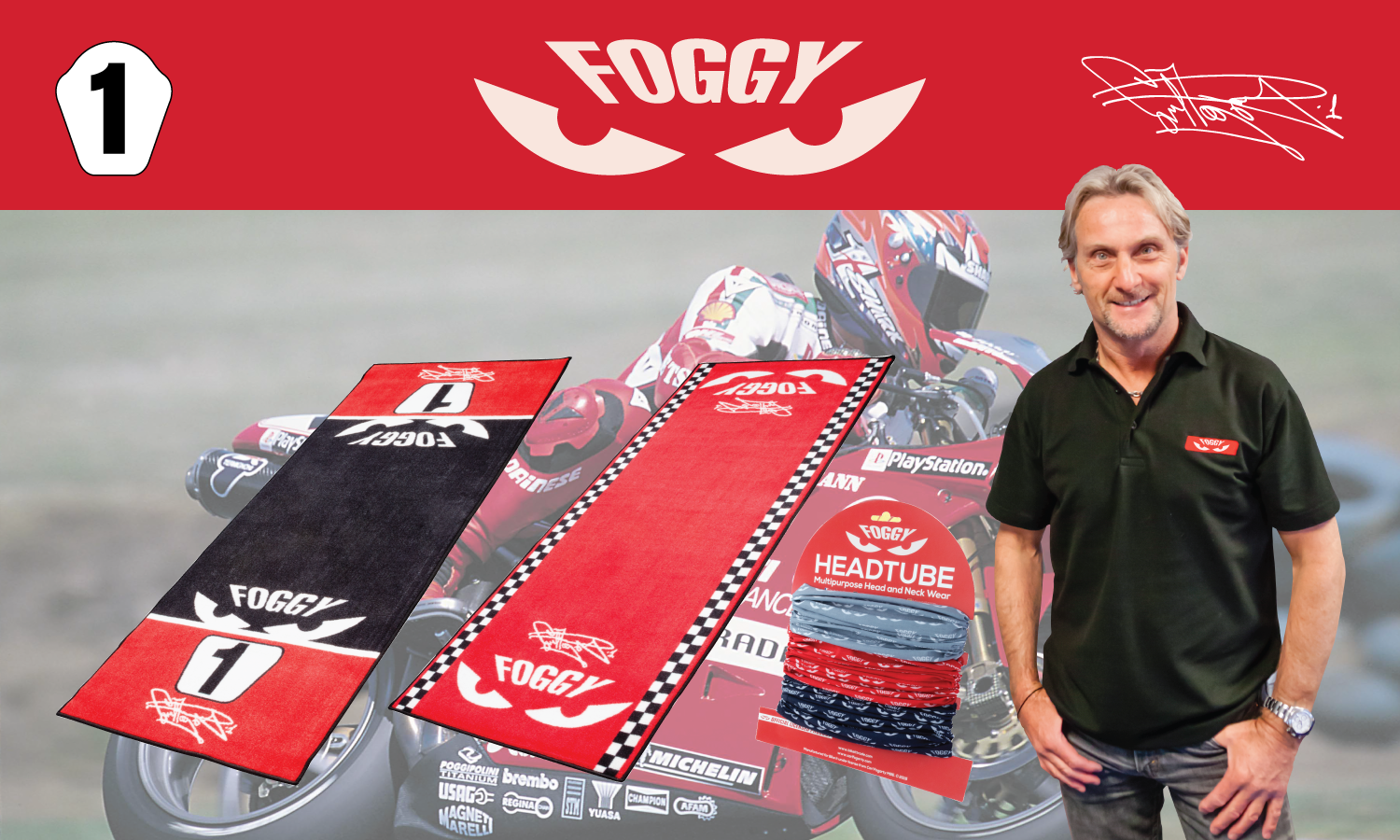Carl Fogarty Garage Mat Number 1 Official Licensed Product